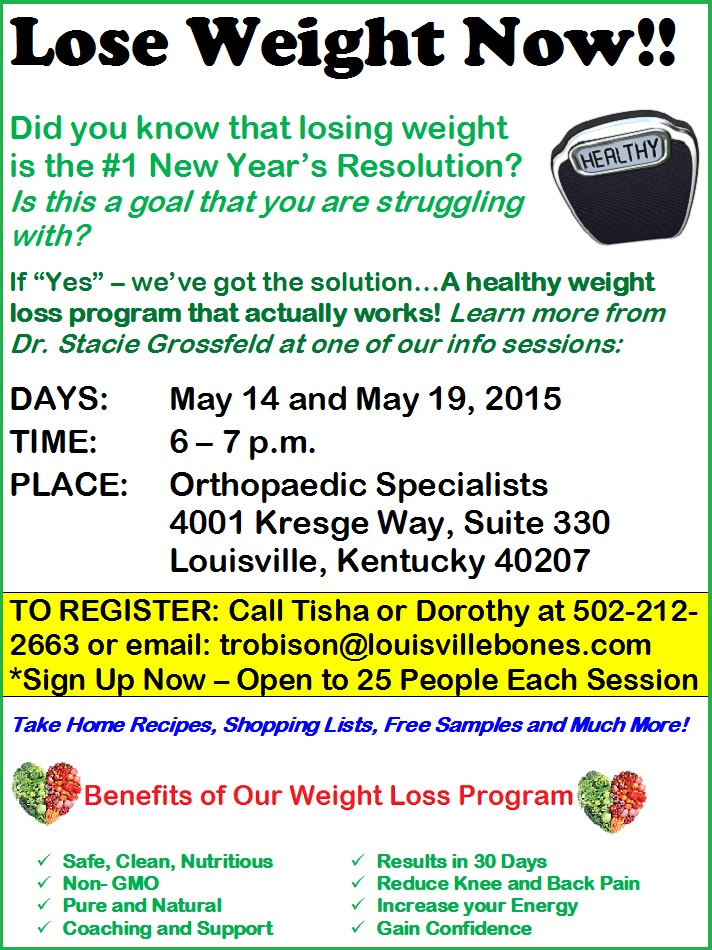Weight Loss Program, Orthopaedic Specialists, Louisville KY