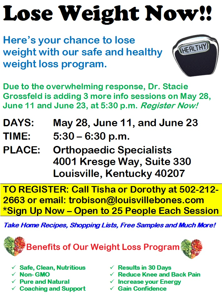Weight Loss Program Orthopaedic Specialists Louisville Ky