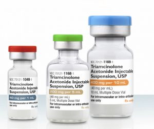 An image of different bottles of cortisone used for injection